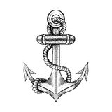Hand drawn elegant ship sea anchor with rope. Black sketch for tattoos design or t-shirt print, dot work art. Vintage vector illustration  on white background Stock Image