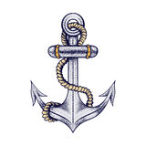Hand drawn elegant ship sea anchor with rope, colored sketch for Royalty Free Stock Photo