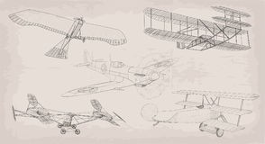 Hand drawn element object vintage air transport helicopter, plan Stock Images