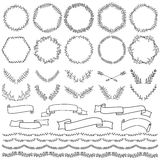 Hand drawn elements for design, borders, wreaths. Vector illustration, isolated on white background Stock Image