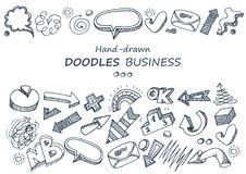 Hand-drawn elements. Doodles collection. Arrows charts and speech bubbles Stock Images