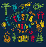 Hand drawn elements of Festa Junina Stock Photo