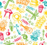 Hand drawn elements of Festa Junina Stock Photography
