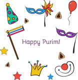 Hand drawn elements set for Jewish holiday Purim: carnival masks and hats, traditional Hamantaschen cookies Stock Image