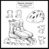 Hand drawn elements of set Roller Skates with helmet and protect Stock Image