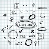 Hand drawn elements sketch. Line vector set. Business Doodle. Arrows, circles and signs isolated on white background. Vector illustration royalty free illustration