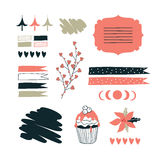 Hand drawn elements for your design Label decoration tag Stock Image