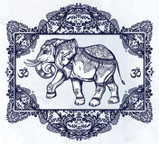 Hand drawn elephant deity in oriental frame. Royalty Free Stock Images