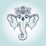 Hand drawn Elephant Head. Indian god Lord hindu deity Ganesha. G Stock Photos