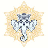Hand drawn Elephant Head on ornament background. Indian god Lord Stock Photo