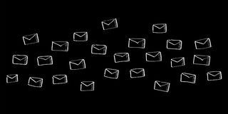 Hand drawn email flying. On black background Stock Images