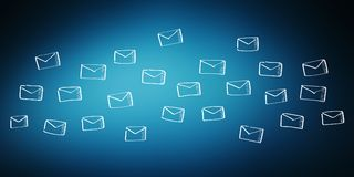 Hand drawn email flying. On blue background Royalty Free Stock Image