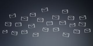 Hand drawn email flying. On grey background Stock Images