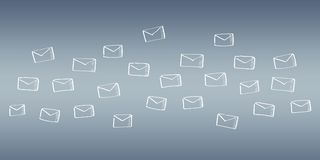 Hand drawn email flying. On grey background Royalty Free Stock Image