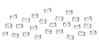 Hand drawn email flying. On white background Stock Image