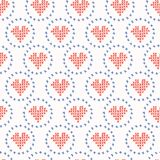 Hand Drawn Embroidery Love Heart Stitches Seamless Vector Pattern. Cross Stitch royalty free illustration