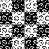 Hand drawn emoticons. Seamless pattern. Stock Images
