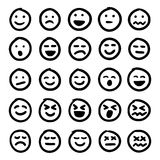 Hand drawn emoticons. Vector set of hand drawn emoticons, emoji isolated on white background. Editable vector file available Stock Photo