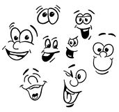 Hand drawn Emotional happy Cartoon Faces Royalty Free Stock Image