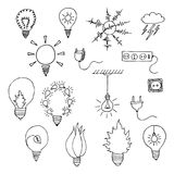Hand drawn energy icons. Vector illustration. Isolated on white background Stock Photos