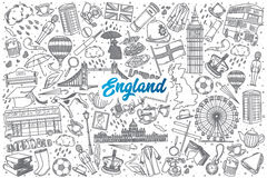 Hand drawn England doodle set with lettering Stock Images