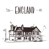 Hand drawn English house, townhouse urban sketch stock illustration