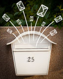 Hand drawn envelopes comming out of a mailbox Stock Photos