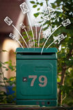 Hand drawn envelopes comming out of a mailbox Stock Images