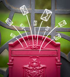 Hand drawn envelopes comming out of a mailbox Royalty Free Stock Photos