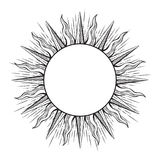 Hand drawn etching style frame in a shape of sun rays vector illustration Royalty Free Stock Photo