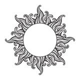Hand drawn etching style frame in a shape of sun rays vector illustration Royalty Free Stock Images