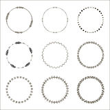 Hand drawn ethnic circles. Ink collection of symbols. Royalty Free Stock Photos