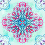 Hand drawn ethnic circular pink and blue ornament Royalty Free Stock Photo