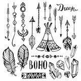 Hand drawn ethnic collection. Vector set with Stock Photo