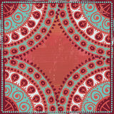 Hand drawn  ethnic frame in blue  and coral red tones Stock Images