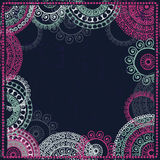 Hand drawn  ethnic frame in motley tones Stock Photography