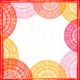 Hand drawn ethnic frame in red tones Stock Photo