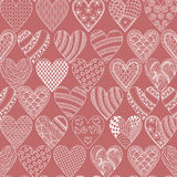 Hand drawn ethnic ornamental hearts, symbol St. Valentine's day Stock Images