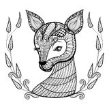 Hand drawn ethnic ornamental patterned cute deer's face in flora Royalty Free Stock Images