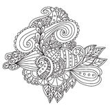 Hand drawn ethnic ornamental patterned floral frame. Royalty Free Stock Images