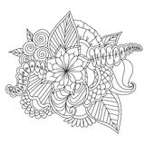 Hand drawn ethnic ornamental patterned floral frame. Royalty Free Stock Photo