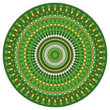 Hand drawn ethnic ornamental round abstract bright green background Stock Photo
