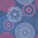 Hand drawn  ethnic seamless pattern in blue tones Stock Image