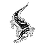 Hand drawn ethnic zentangle Crocodile for adult coloring pages  Stock Photo