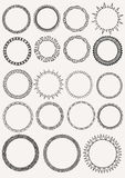 19 hand drawn ethnics circles for mandala creations Stock Images