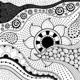 Hand-drawn ethno pattern, tribal background. It can be used for wallpaper, web page, bags, print and others. African style. Vector. Hand-drawn ethno pattern stock illustration