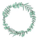 Hand drawn eucalyptus leaves wreath. Ideal for wedding logos/monograms. Ideal for wedding logos/monograms Royalty Free Stock Photos