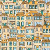 Hand drawn European city houses seamless pattern. Cute cartoon style vector illustration. Colorful Modern townhouse building sketc. H. City buildings, Creative Royalty Free Stock Image