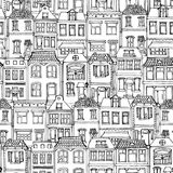 Hand drawn European city houses seamless pattern. Cute cartoon style vector illustration. Modern townhouse building sketch. City b. Uildings, Creative Doodle Royalty Free Stock Images