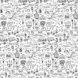 Hand drawn evening seamless pattern Stock Photo